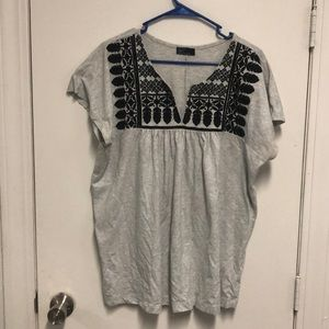 Black and Grey Embroidered Blouse